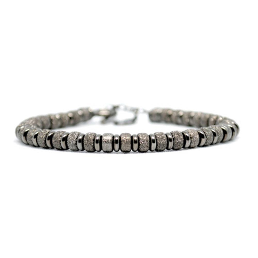 Multi Beaded Bracelet | Black Beads | Double Bone