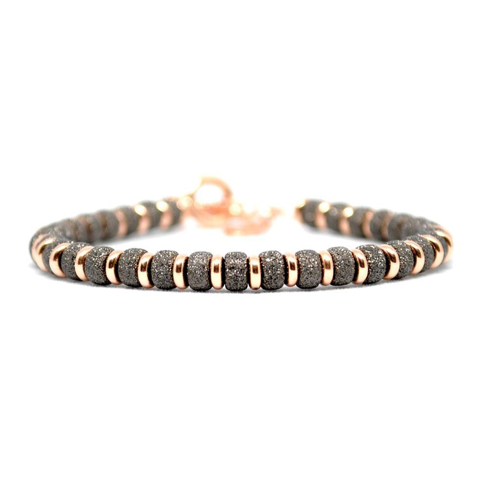 Multi Beaded Bracelet | Black/Rose Gold Beads | Double Bone
