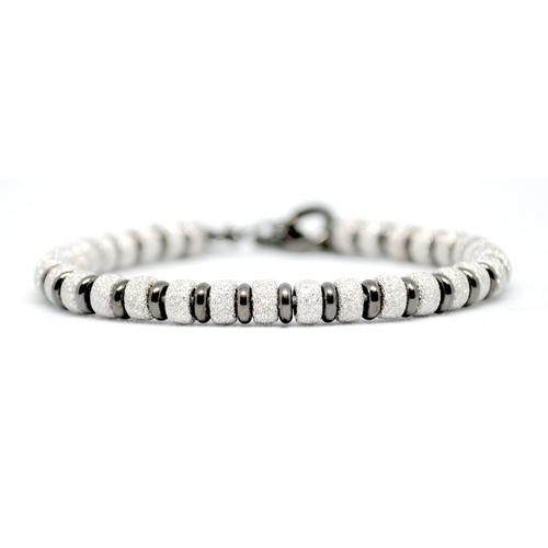 Bracelet   Multi Beads   White Gold/Black