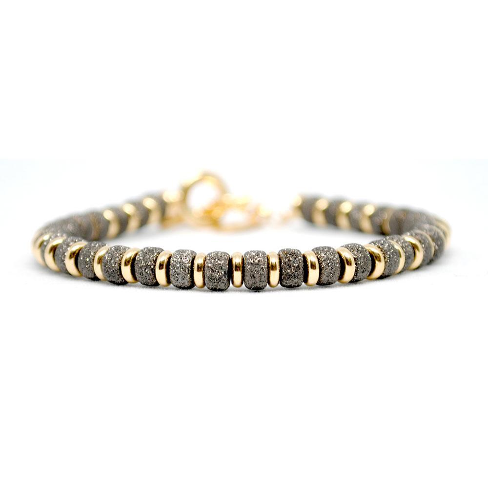 Multi Beaded Bracelet   Black & Gold Beads   Double Bone