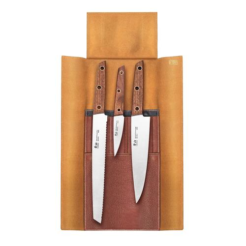 W Series | 4-Piece Set | Teak / Leather