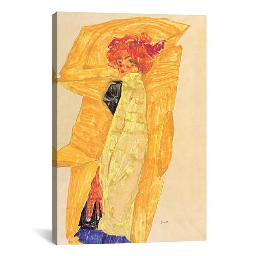 Gerti Schiele Against Ocher-Coloured Drapery