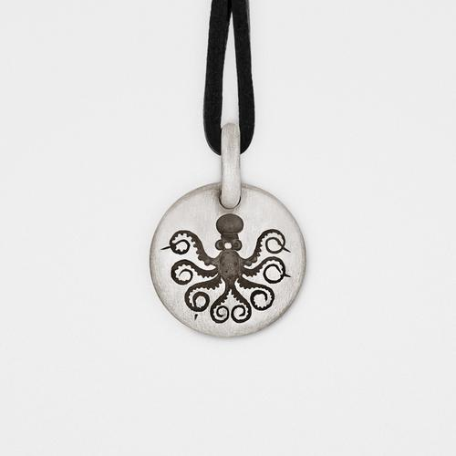 Octopus Charm Pendant   Sterling Silver