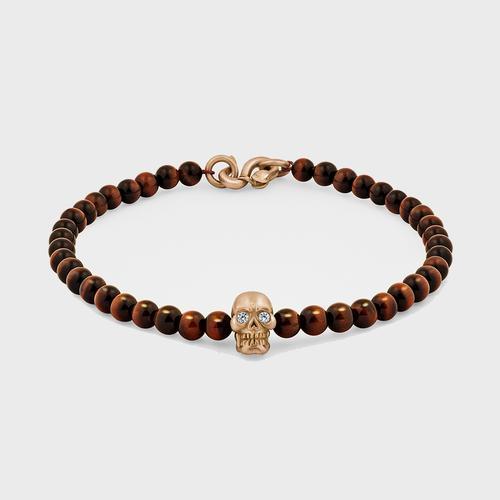 Skull Bracelet | 18K Gold with Diamond Eyes