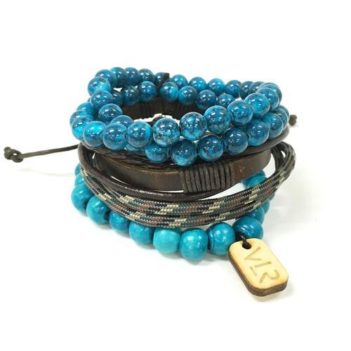 Variety Bracelet Set | Teal and Brown