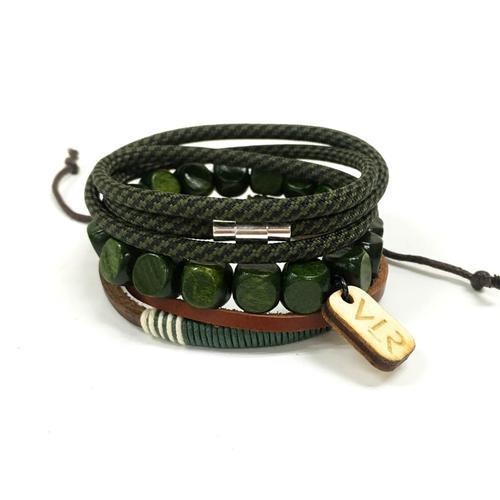 Square Bead Bracelet Set | Olive