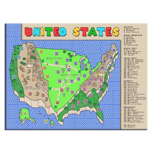 SUPER MARIO THEMED USA MAP
