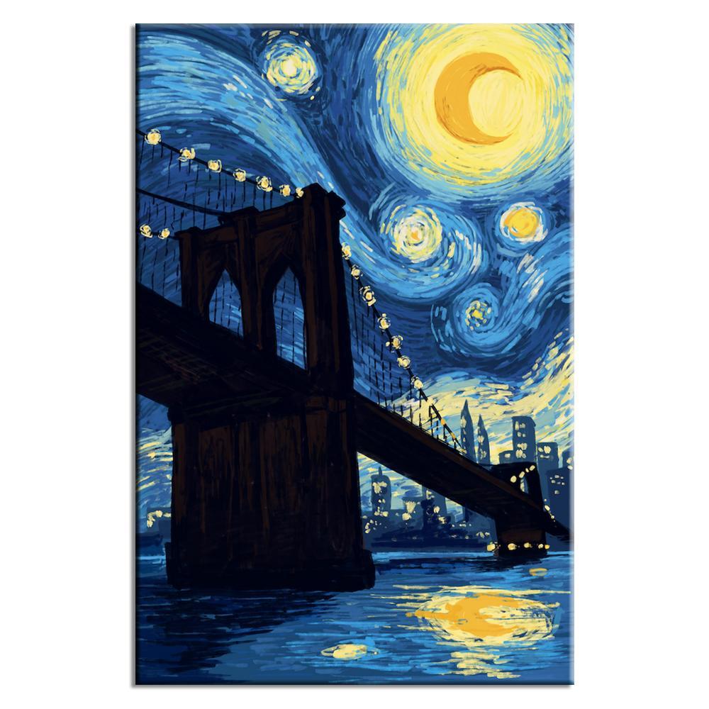 Starry Night over Brooklyn Bridge | Lynx Art