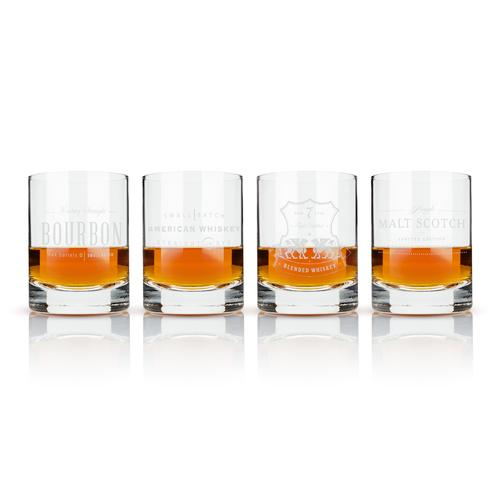 Etched Whiskey Label Crystal Tumblers
