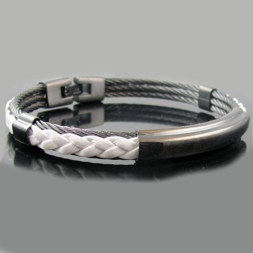Leather + Triple Cable Bangle