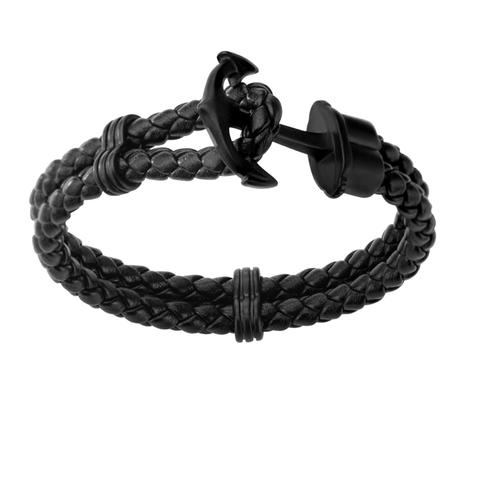 Men's Double Black Braided Leather