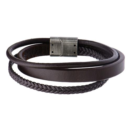 Men's Brown Leather with Braided Layered Bracelet