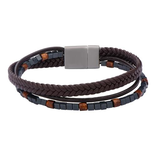 Brown Braided Leather & Stone Beads Layered Bracelet