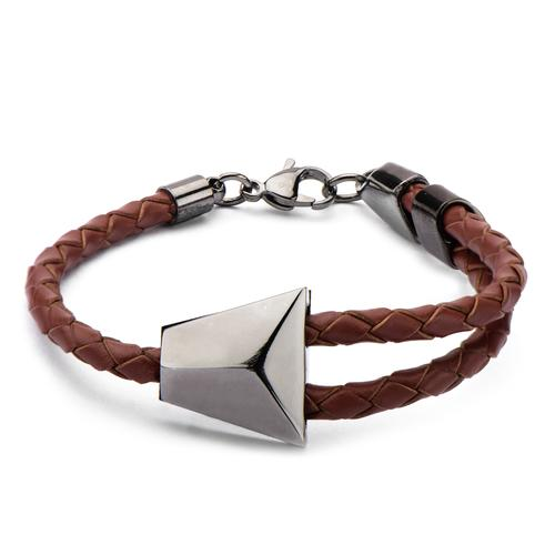 Men's Brown Braided Leather & Black IP Bolo Bracelet