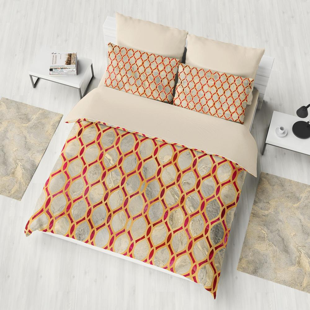 Gold And Ruby Red Geometry Duvet Cover Set
