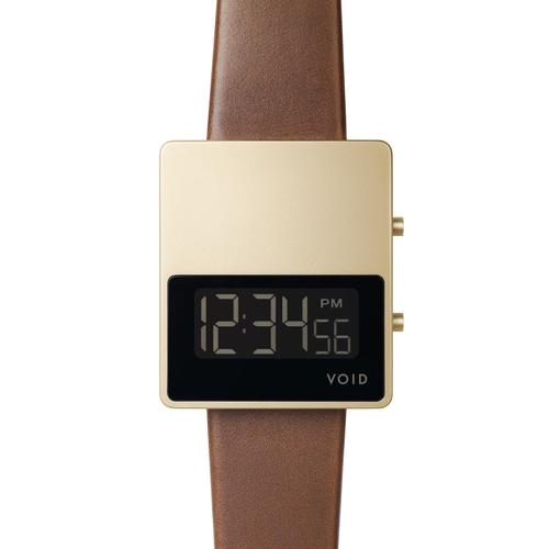Matte Gold LCD w Light Brown leather strap | Gold buckle