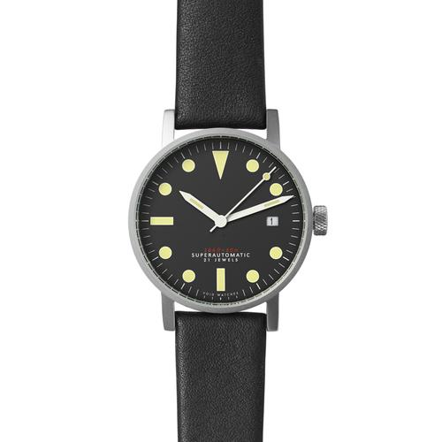 Satin matte Silver Mechanical | Black leather strap
