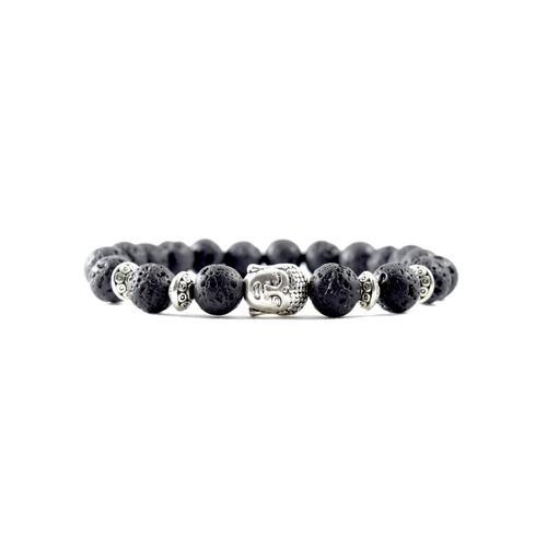 Silver Buddha   Lava Stone Bracelet