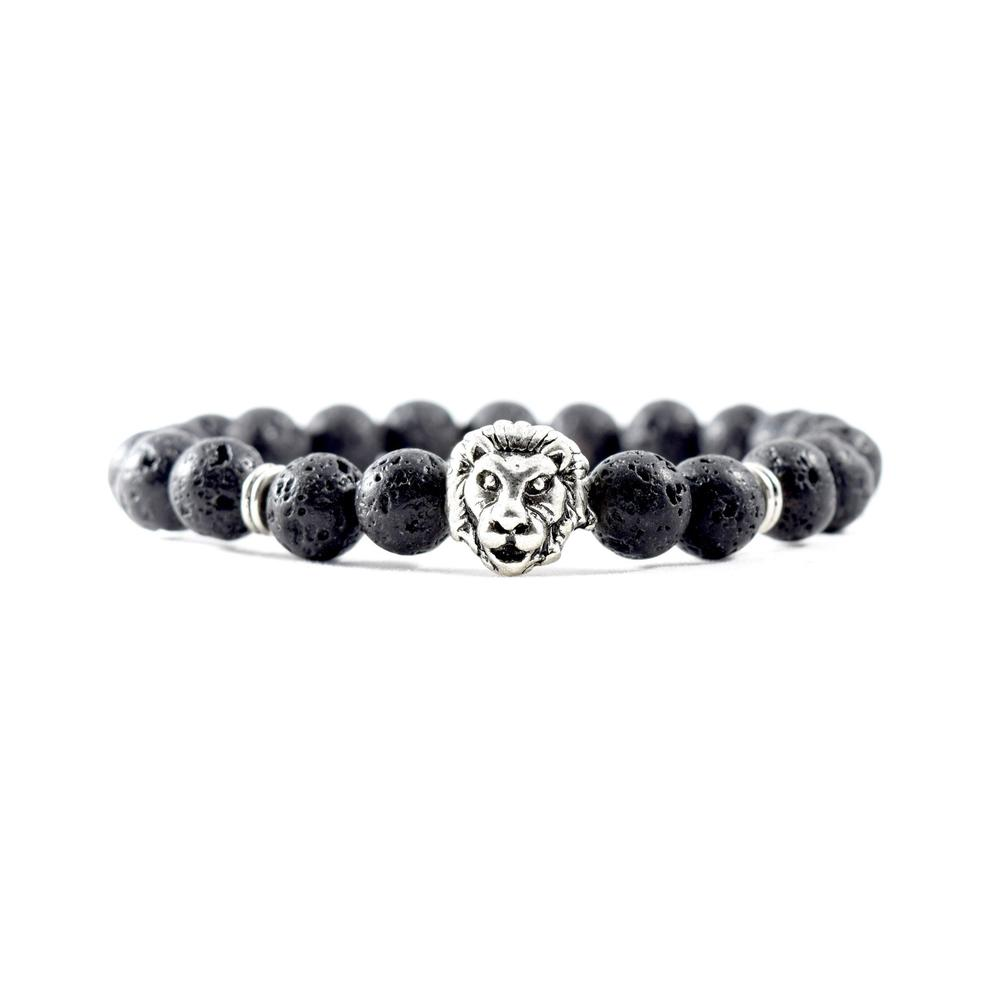Silver Lion | Lava Stone Bracelet | Executive Society