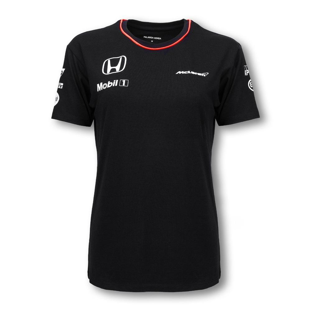 MCLAREN HONDA BLACK TEAM T-SHIRT LADIES 2016 REPLICA